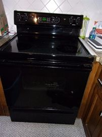Black ceramic stove top and oven