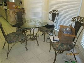 IRON/GLASS KITCHEN TABLE & CHAIRS