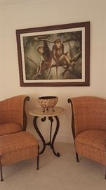 Woven Rattan Fireside Chairs w/ Ottoman, Pair of Stone & Iron Tables,. Rhesus Macaques Mates Giclees