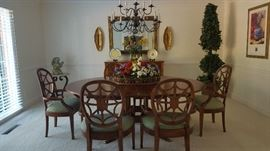 Lexington Dining Room Table w/ Spider Back Chairs. Lighted Topiary, Friedman's Sconces. Friedman Brothers Sconces & Mirror.