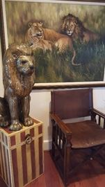 Micro Mosaic Glass Lion. Lion Pride Giclee & Leather Director Chair.