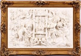 """7 - STONE RELIEF PLAQUE, H 34"""", L 56"""", ANGELS CRUSHING GRAPES"""