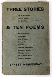 "1 - ERNEST HEMINGWAY (AMERICAN, 1899-1961), ""THREE STORIES & TEN POEMS"", PARIS: CONTACT PUBLISHING CO., 1923"