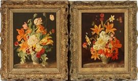"""2015 - FRANZ XAVIER WOLF, (1896 - 90) OILS ON CANVAS, TWO, H 15"""", W 13"""", FLOWERS"""