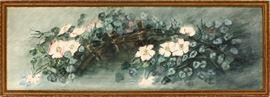 """2227 - PAUL DE LONGPRE (AMERICAN/FRENCH, 1855-1911), WATERCOLOR, 1905, SIGHT: H 12 3/4"""", W 38 3/4"""", FLOWERS"""