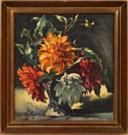 """2296 - SANDOR VAGO (HUNGARIAN/AMERICAN, 1887-1946), OIL ON CANVAS, SIGHT: H 20"""", W 17 1/2"""", VASE WITH FLOWERS"""