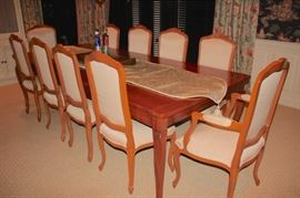 Large Quality Dining Room Table with 10 Chairs