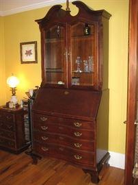 Thomasville cherry secretary with display cabinet $800