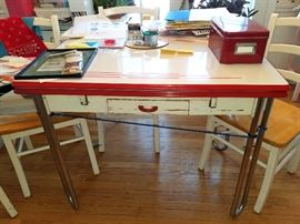 Vintage metal red & white kitchen table