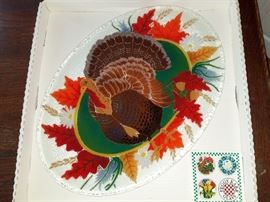 Peggy Karr fused glass turkey platter