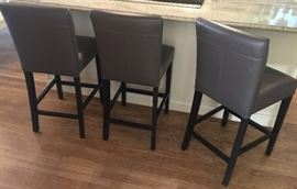 "8. 3, Crate and Barrel Grey Leather Stools (18"" x 19"" w/ Seat Ht. 25"")"