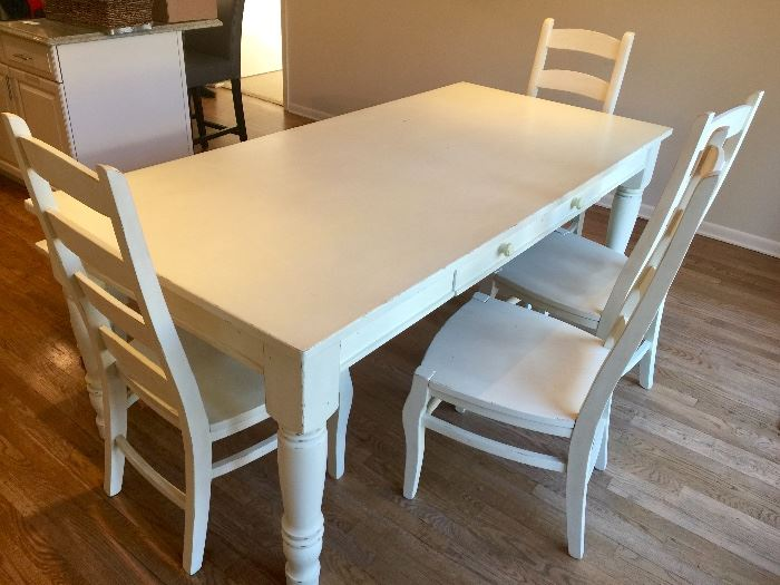"""9. Pottery Barn Wood Dining Farm Table in Distressed White (39"""" x 82"""" x 31"""")                                     10. 4, Pottery Barn Ladderback Chairs in Distressed White Finish (20"""" x 21"""" x 43"""") & 1 Bench in Distressed White (15"""" x 64"""" x 19"""")"""