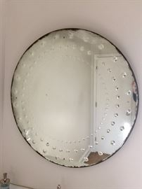 "11. Restoration Hardware 36"" D Round Distressed Mirror"