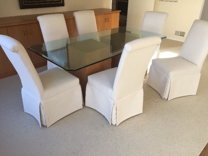 """12. Glass Topped Dining Table w/ Two Oak Wood Bases (40"""" x 78"""" x 30"""")                                                               13. 6 Parsons Dining Chairs Covered in Cream Canvas (20"""" x 24"""" x 41"""")"""