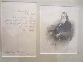GIDEON WELLES AUTO GRAPHED LETTER. LINCOLNS SECRETARY OF THE NAVY