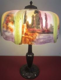 LARGE ANTIQUE PUFFY LAMP...BEAUTIFUL SCENES...NO CHIPS OR CRACKS...PAIRPOINT?