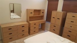 4 Piece  Faux Wood Grain Formica Bedroom Set With Brass Pulls.