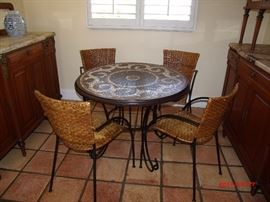 Mosaic tile top with metal base table and chairs