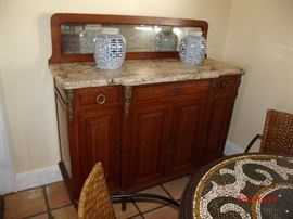 "Marble top side server Mirrored back 54                  ' tall 55       ' wide 21"" deep"
