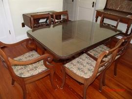 Drop leaf Duncan fife  dining table and 6 Chairs  Glass top