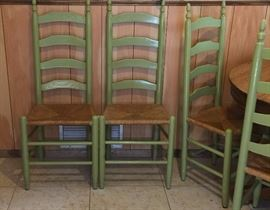 Vintage Oak Pedestal Table and 6 Ladderback Chairs