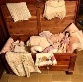 Cedar Chest Filled with Crocheted Tablecloth, Doilies and Vintage Baby Clothes