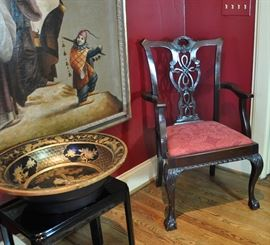 Antique ribbon back Chippendale arm chair from a set of 8 (2 arm chairs and 6 side chairs), mid 19th century