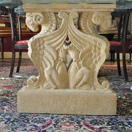 "Outstanding one of a kind 3/4"" thick glass top dining table with 2 carved stone pedestals with each featuring double ram's head griffins"