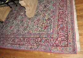 "Old hand woven in Iran Mashhad rug, 8' 11"" by 12' 5""   This piece has been removed from the sale by the client."