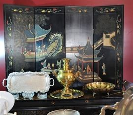 Asian carved and painted screen (SOLD AT PREVIEW) with brass samovar and other nice pieces