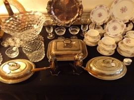 "Fosteria ""American"" punch bowl ,ice bucket, pair of silverplate chocolate pots"