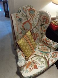 Pair of tall back Queen Anne Stlye wingbacks, covered in crewel, perfect condition