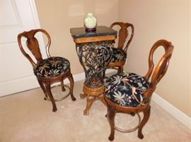 41 inch Marble top table with 40 inch swivel chairs,this table and chairs  was used for  wine tasting events