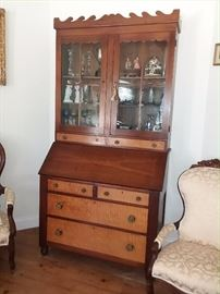 "CIRCA 1850 WALNUT  AND CURLY MAPLE SECRETARY BOOKCASE - UNUSUAL ""WAVE PATTERN  CORNICE"""