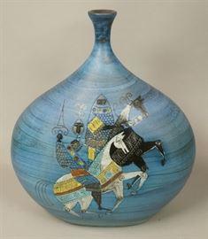 Lot 5 Large Blue Bulbous Italian Modern Vase. Horse and