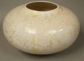 Lot 8 Bulbous Modernist Vase Crystalline Finish. Signed