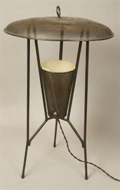Lot 9 Black Modernist Pierced Metal Lamp. Black metal l