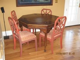 Games Table, Chinese Chippendale Side Chairs