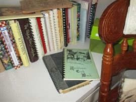 Large collection of cook books, including local church cookbooks