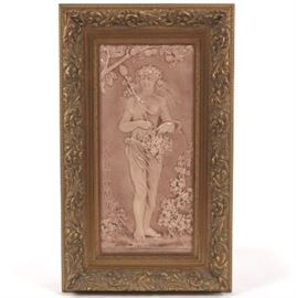 Large Framed Decorative Tile, ca. Late 19th Century, Attr. Isaac Broome for Beaver Falls Art Tile Company