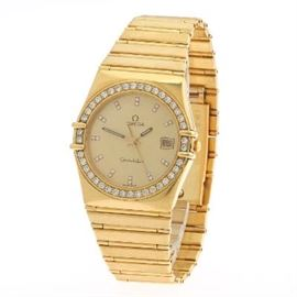 18k Omega Yellow Gold and Diamond Constellation Quartz Wristwatch