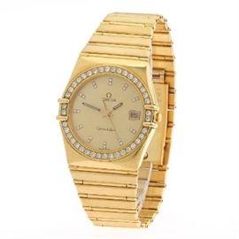18k Omega Yellow Gold and Diamond Constellation Quartz Wristwatch