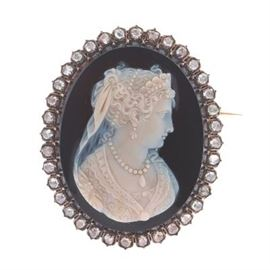 18k Rose Gold and Diamond French Cameo, ca. 1750s