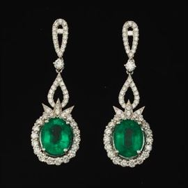 A Pair of Fine Emerald and Diamond Earrings