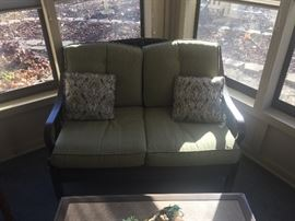 This is a gorgeous set of patio furniture. Metal & wicker!  It has been in a 3 season porch and it is in excellent condition. There are 3 matching pieces and a coffee table