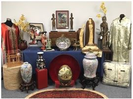 Asian wares were a favorite of this collector.  Details of many of the items in this vignette will follow in individual photos.