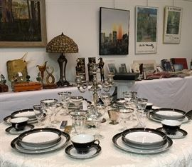 We have several sets of crystal including some large Waterford glasses.