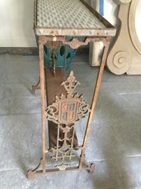 Wrought iron antique carved entry table $275