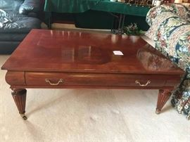 #4	Ethan Allen Coffee Table with Diamond Design Top  50x36x19	 $150.00