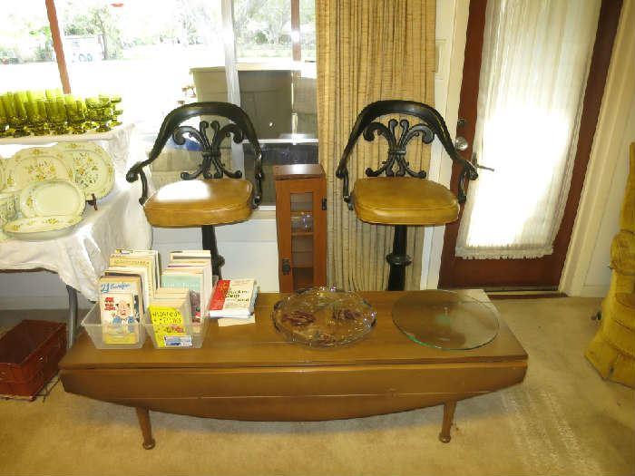 Kessler Vintage Bar Stools, Mid Century Modern (MCM) Drop Leaf Table